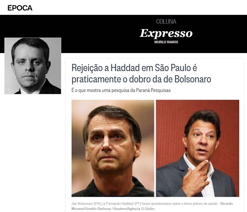 Revista Época – Coluna Expresso divulga pesquisa realizado no Estado de São Paulo sobre o SEGUNDO TURNO das eleições para Presidente do Brasil