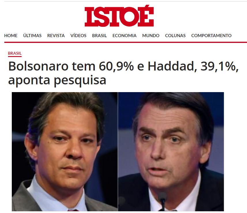 Revista ISTO É divulga pesquisa nacional sobre o SEGUNDO TURNO das eleições para Presidente do Brasil