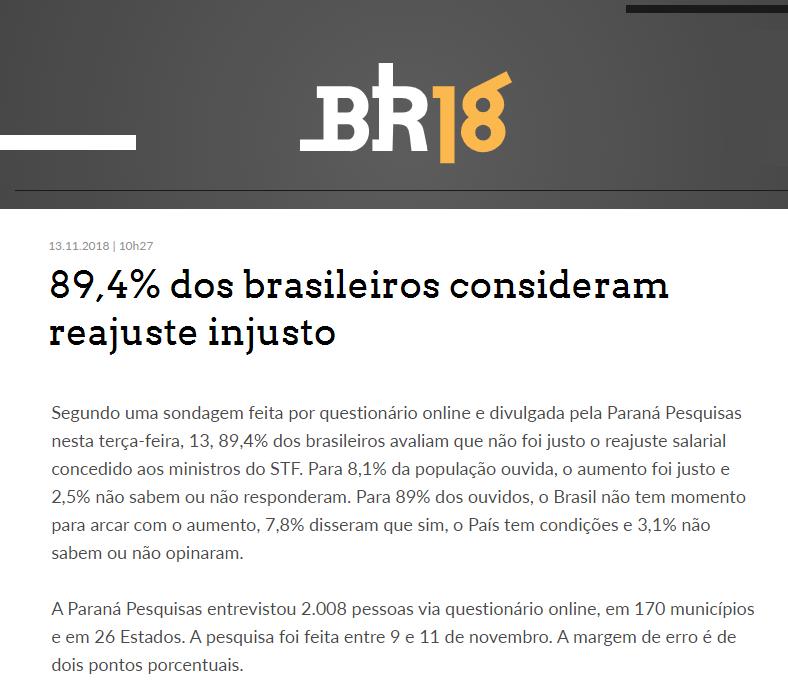 Portal BR18 divulga pesquisa nacional sobre o aumento de salário dos Ministros do Supremo Tribunal Federal