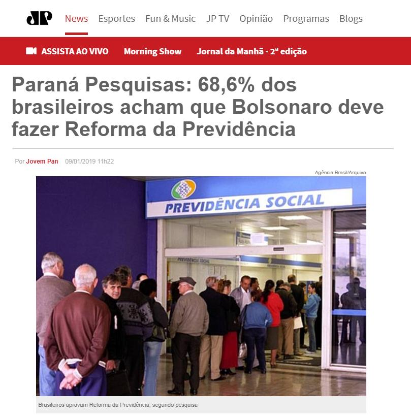 Jovem Pan divulga pesquisa realizado pela Paraná Pesquisas