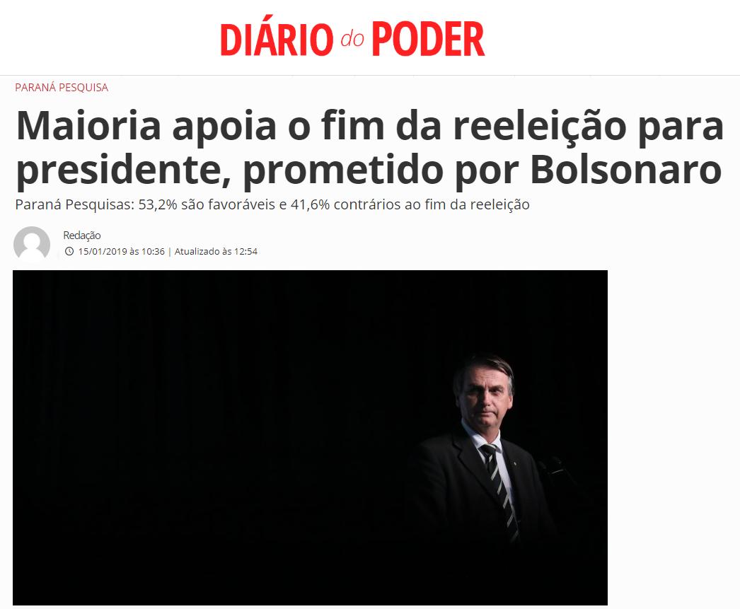 Diário do Poder divulga pesquisa realizado pela Paraná Pesquisas com a opinião dos brasileiros sobre a reeleição presidencial