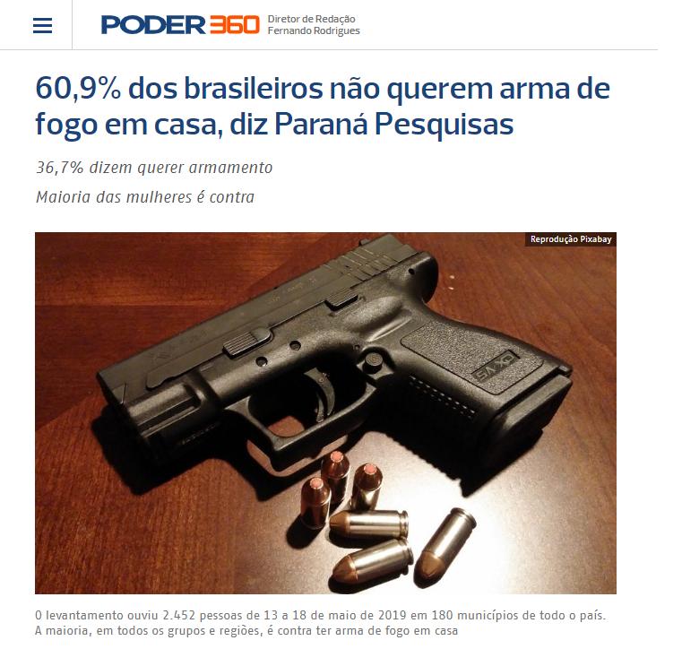 Poder 360 divulga pesquisa nacional realizado pela Paraná Pesquisas sobre os brasileiros terem ou não uma arma de fogo em casa