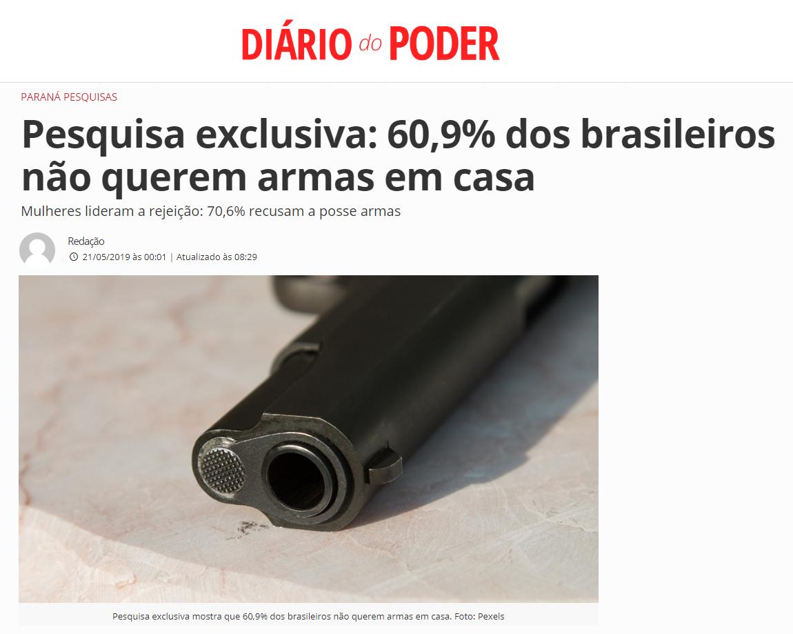 Diário do Poder divulga pesquisa nacional realizado pela Paraná Pesquisas sobre os brasileiros terem ou não uma arma de fogo em casa