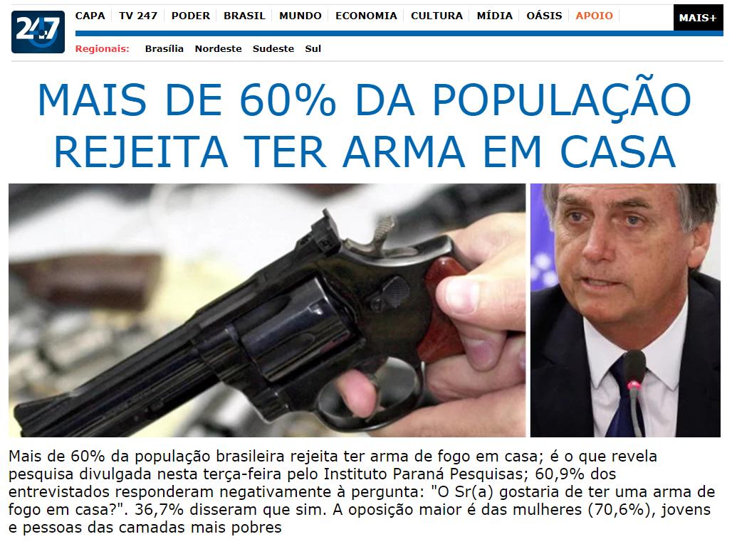 Brasil 247 divulga pesquisa nacional realizado pela Paraná Pesquisas sobre os brasileiros terem ou não uma arma de fogo em casa