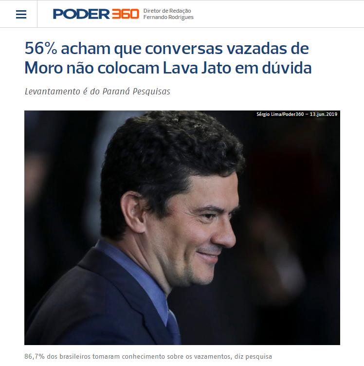 Poder 360 divulga pesquisa nacional realizada pela Paraná Pesquisas sobre a Operação Lava Jato