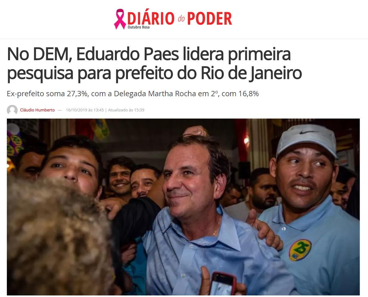 Diário do Poder divulga pesquisa realizada no Município do Rio de Janeiro sobre a situação eleitoral para as eleições Municipais