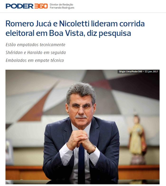 Poder 360 divulga pesquisa realizada no Município de Boa Vista sobre a situação eleitoral para as eleições Municipais de 2020