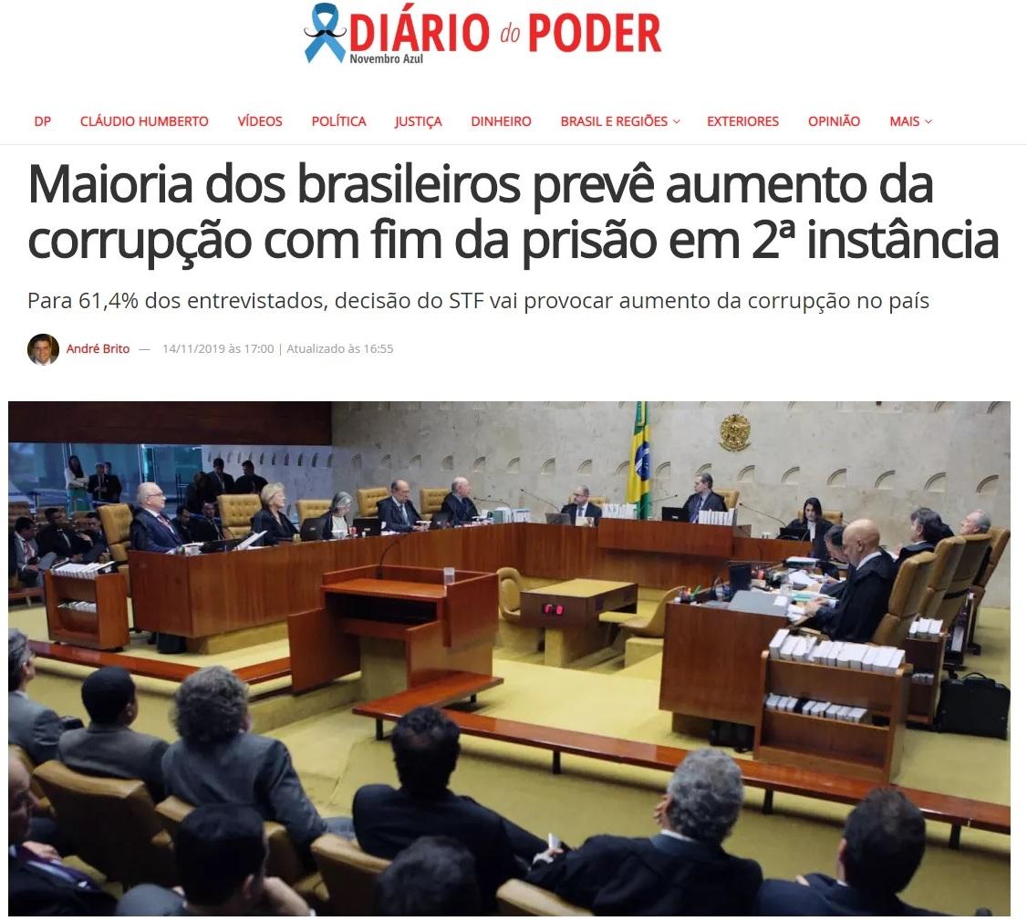 Diário do Poder divulga pesquisa realizada pela Paraná Pesquisas sobre avaliação do fim da prisão em 2ª Instância