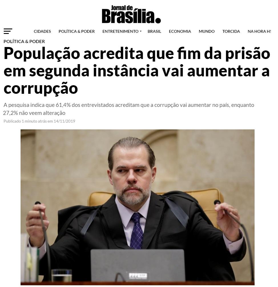 Jornal de Brasília divulga pesquisa realizada pela Paraná Pesquisas sobre avaliação do fim da prisão em 2ª Instância