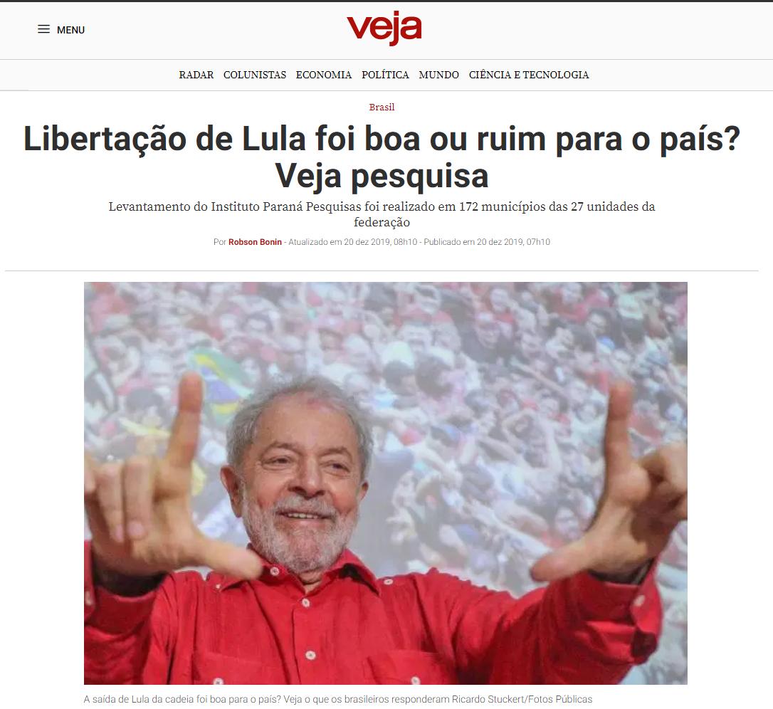 Veja.com divulga pesquisa nacional realizado pela Paraná Pesquisas