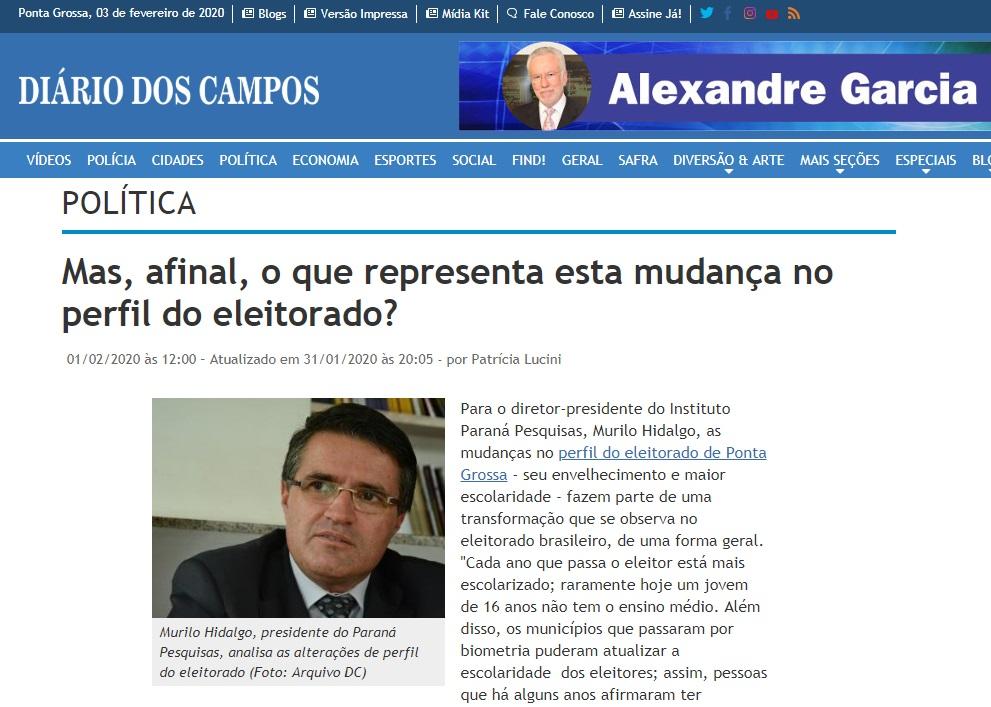 Diário dos Campos divulga entrevista com o Diretor da Paraná Pesquisas