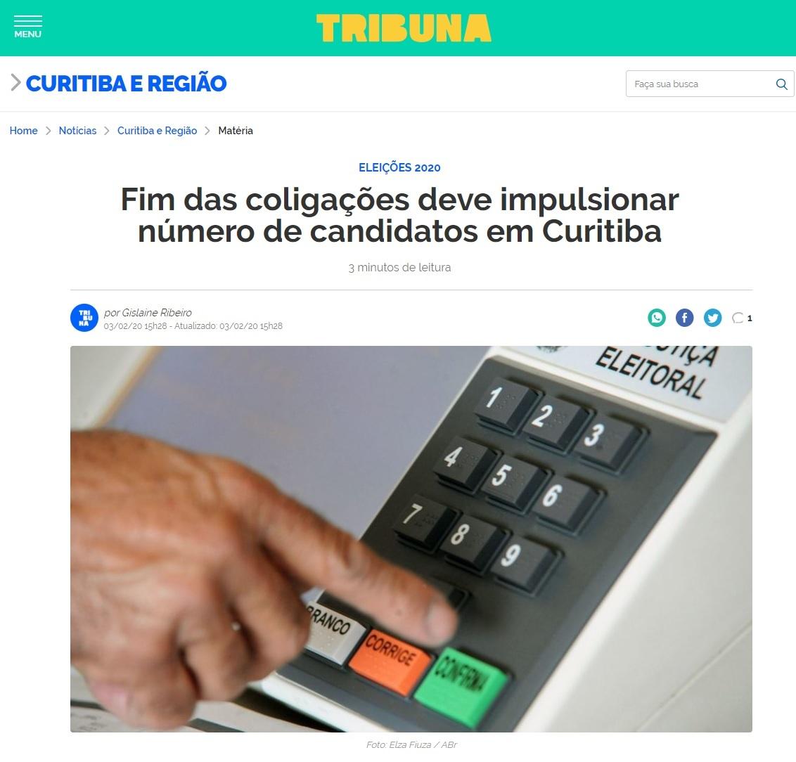 Tribuna divulga pesquisa realizada pela Paraná Pesquisas