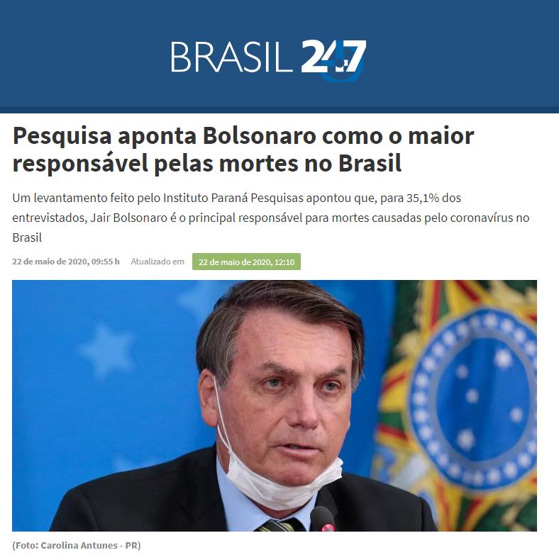 Brasil 247 divulga pesquisa realizado pela Paraná Pesquisas