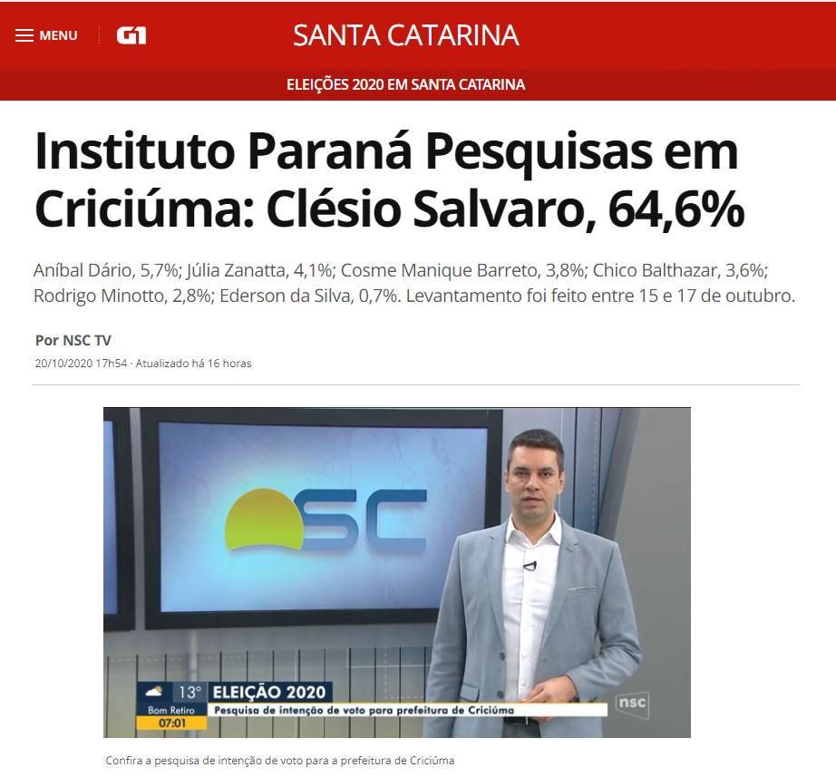 G1 divulga pesquisa realizado pela Paraná Pesquisas