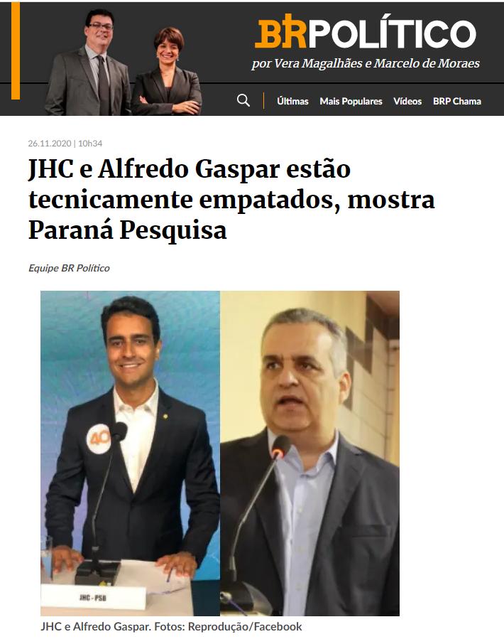 Estadão – BR Político divulga pesquisa realizado pela Paraná Pesquisas