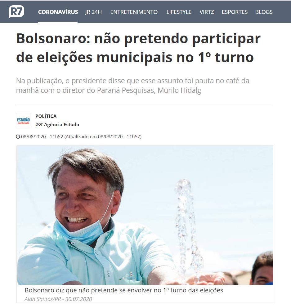 Portal R7.com cita matéria do Paraná Pesquisas