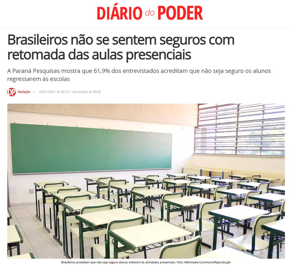 Diário do Poder divulga pesquisa nacional realizado pela Paraná Pesquisas