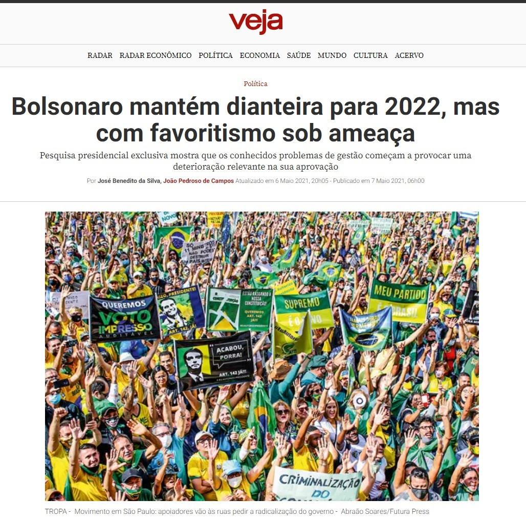 Veja.com divulga pesquisa realizado pela Paraná Pesquisas