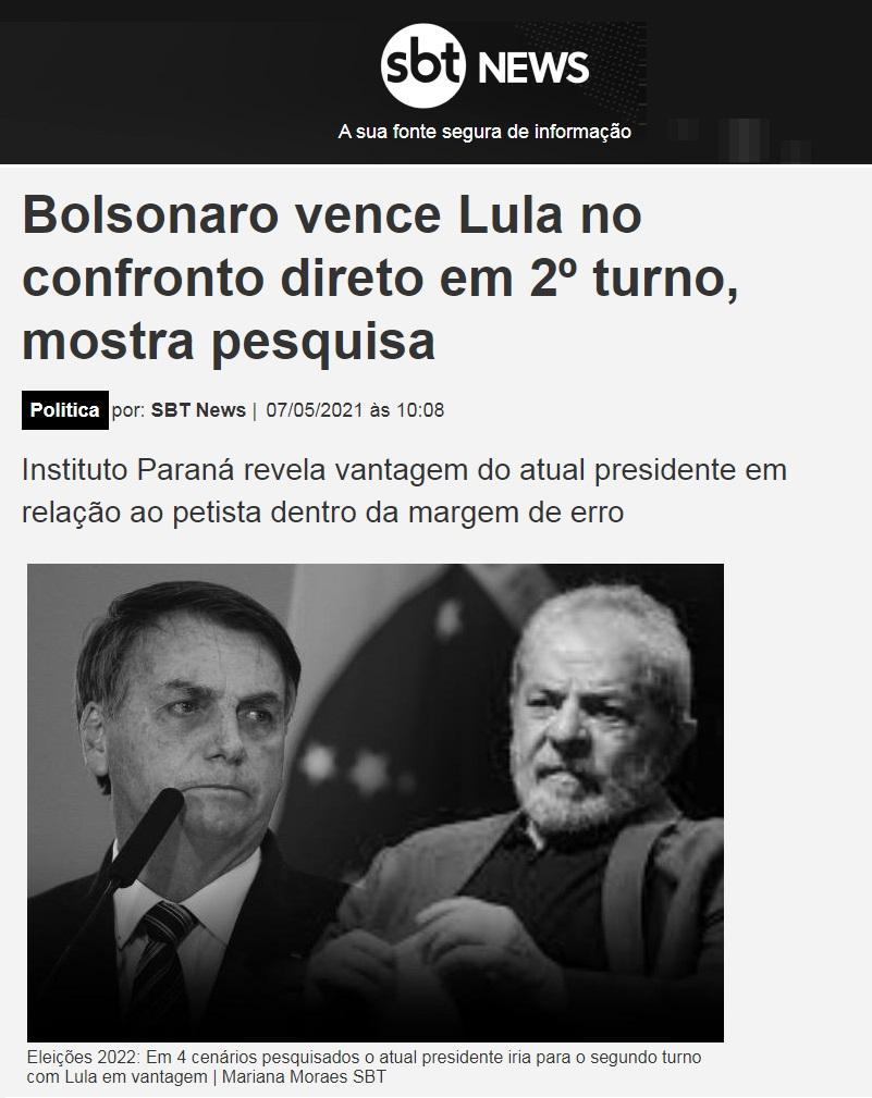 SBT News divulga pesquisa realizado pela Paraná Pesquisas