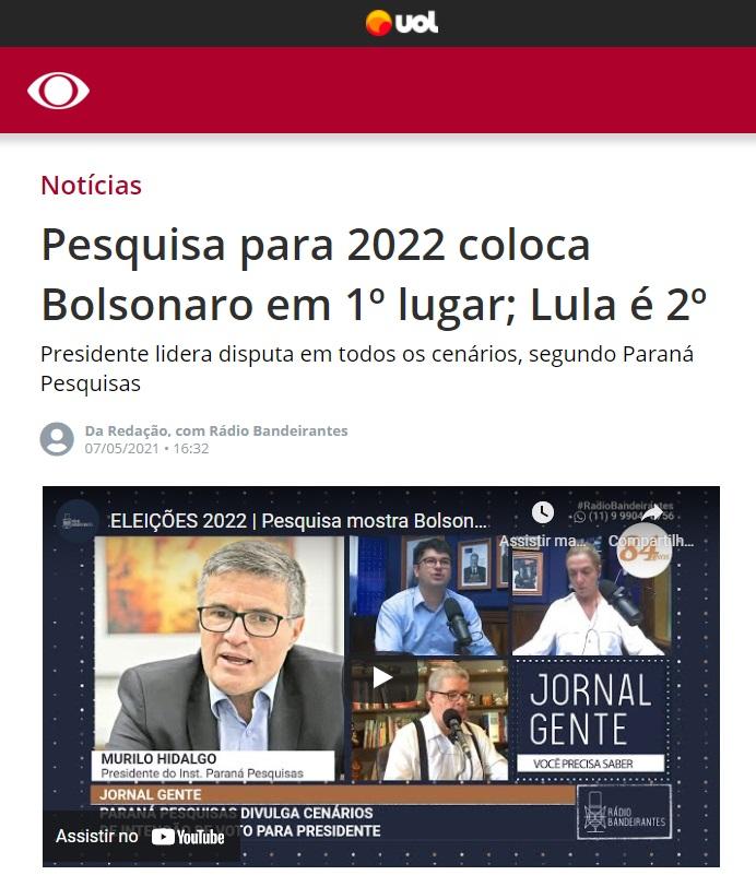 Band UOL divulga pesquisa realizado pela Paraná Pesquisas