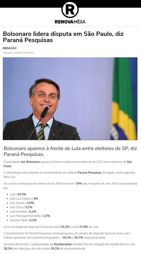 Renova Mídia divulga pesquisa realizado pela Paraná Pesquisas