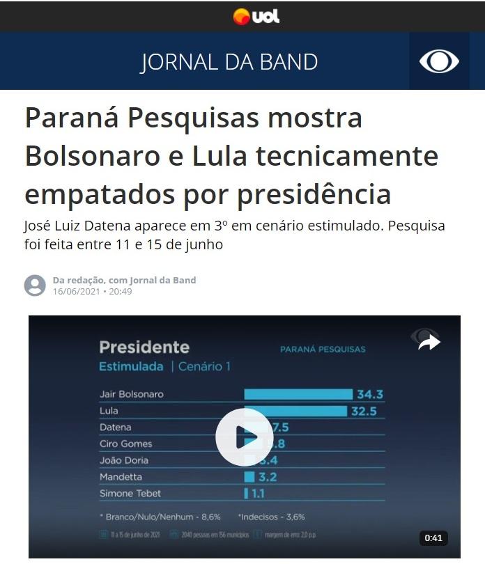 Jornal da Band – UOL divulga pesquisa realizado pela Paraná Pesquisas