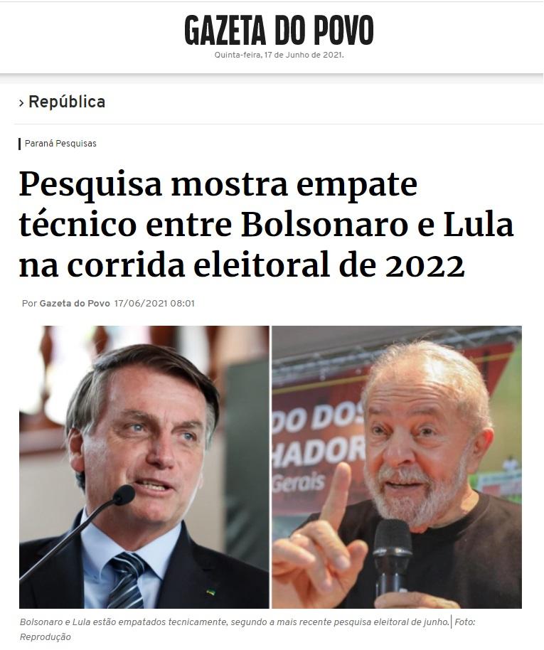 Gazeta do Povo divulga pesquisa realizado pela Paraná Pesquisas