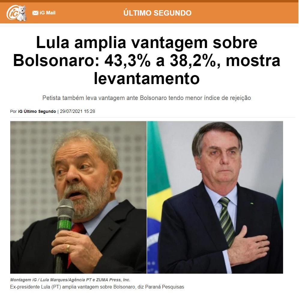 Portal IG – Último Segundo divulga pesquisa realizado pela Paraná Pesquisas