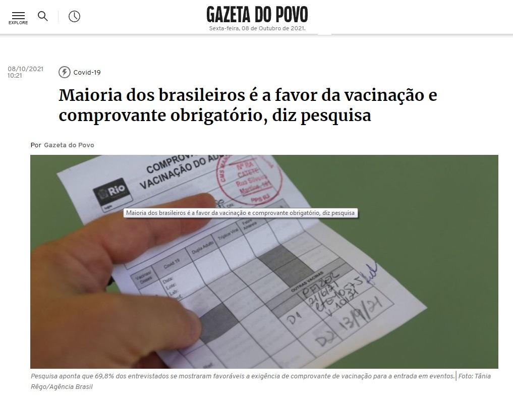 Gazeta do Povo divulga pesquisa nacional realizado pela Paraná Pesquisas